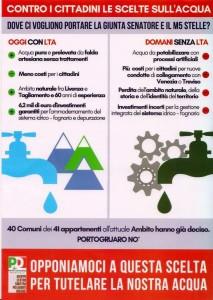 Volantino inviato a tuti i cittadini di Portogruaro a proposito di lta acque